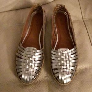 BARNEY'S New York Silver Woven Leather Espadrilles